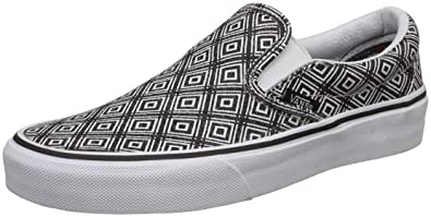 f06d172c8e Vans Unisex Classic Slip-On (Tm Geo) Black and True White Loafers ...