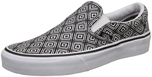 99ff3aeea130 Vans Unisex Classic Slip-On (TM Geo) Black True White Skate Shoe 8 ...