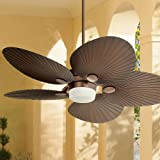 """52"""" Casa Breeze Tropical Coastal Indoor Outdoor Ceiling Fan with Light LED Remote Control Oil Brushed Bronze Palm Leaf Damp R"""
