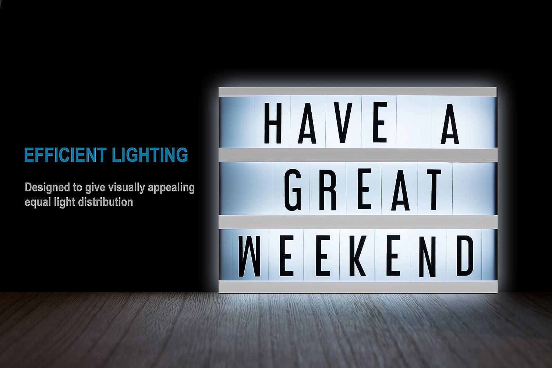Arc Premier - Cartel luminoso de cine, luz LED alimentada por USB o pilas, tamaño A4, combinación de 100 letras, ideal para el hogar, fiestas de ...