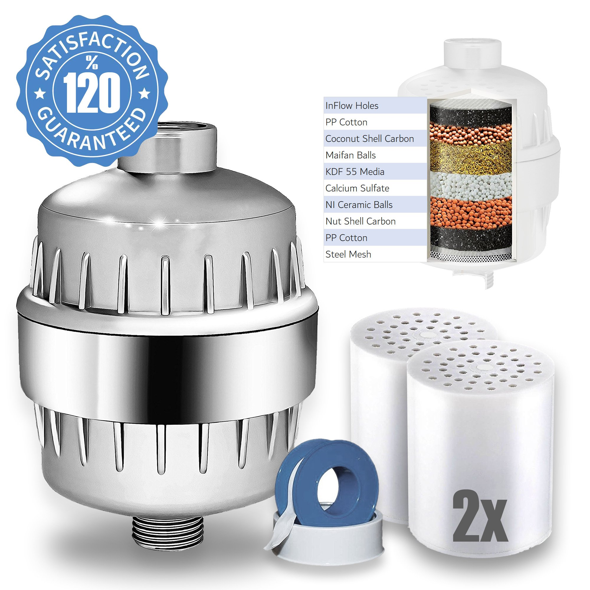 Eco Shower Filter with 2 Replacement Cartridges + Shower Curtain -for Adult Baby Pet - Remove 99% Chlorine (Silver)