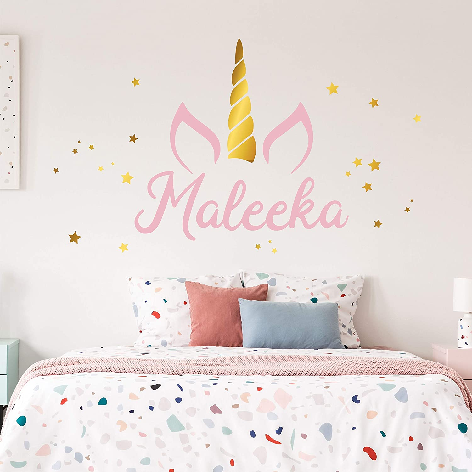 CUSTOMISE NAME /& Unicorn stars Kids Removable Wall Decal for Girls Room