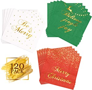 Whaline 120 Pack Christmas Disposable Paper Napkins, 3-ply Gold Foil Design Beverage Cocktail Napkins for Holidays Dinner Party Supplies, Folded 5 x 5 Inches