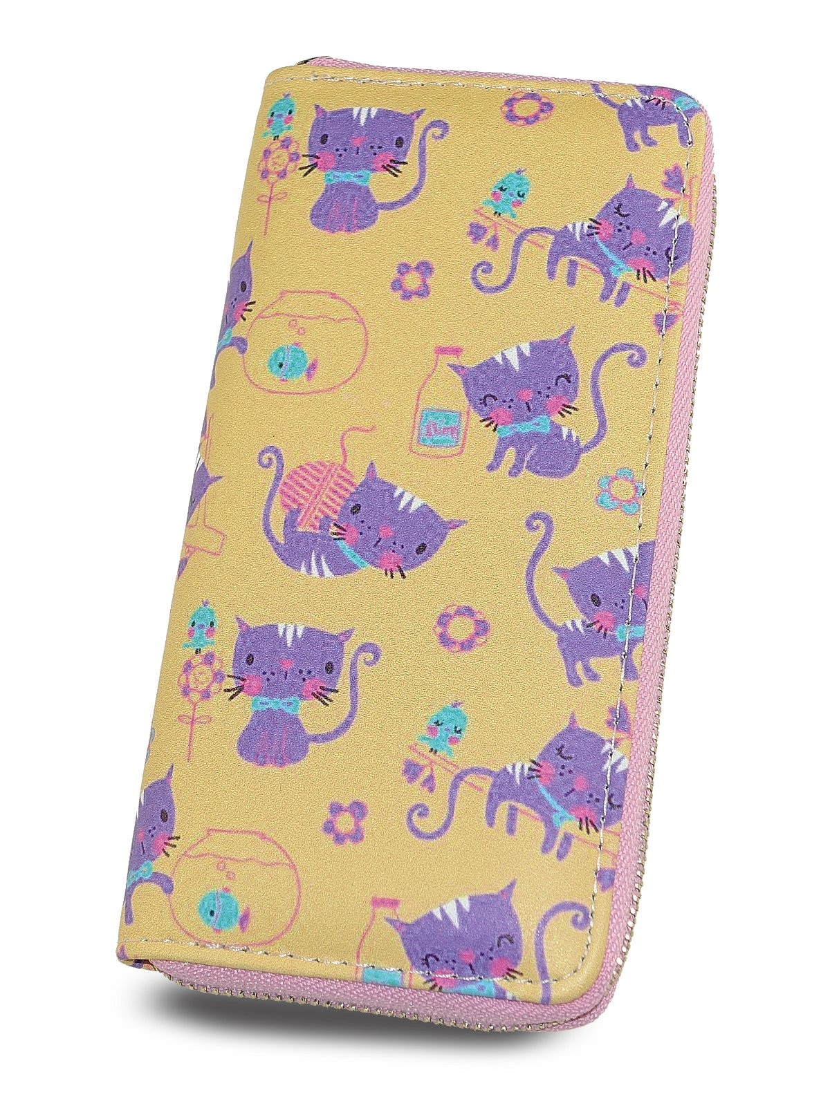 Zipper Clutch Wallet for women and teen girls, Print Lovely Cat, Lady Purse by TZECHO