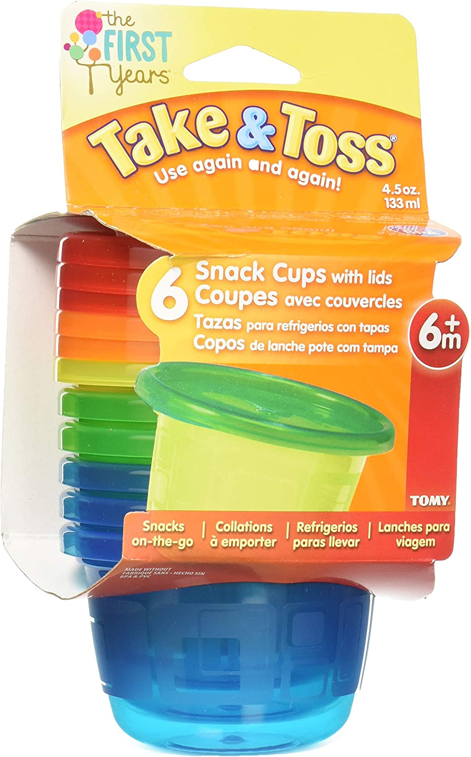 The First Years Sava Semi Disposable Bowls with Lids 8 oz//236 ml Colours May Vary Pack of 7