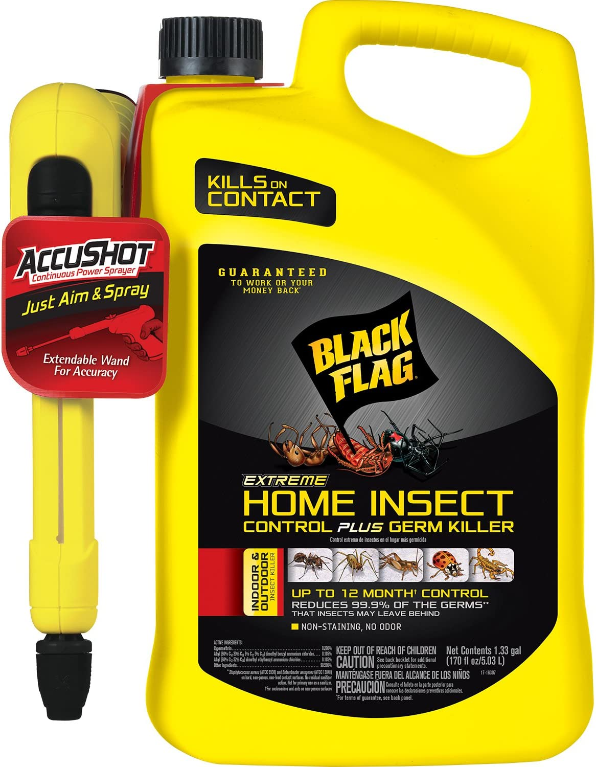 Black Flag Extreme Home Insect Control + Germ Killer (AccuShot Sprayer) 1.33-Gallon