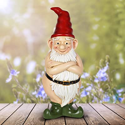 "Exhart Naked Gnome Garden Statue, Resin Statue Outdoor Garden Décor 5"" L x 5"" W x 14"" H : Garden & Outdoor"
