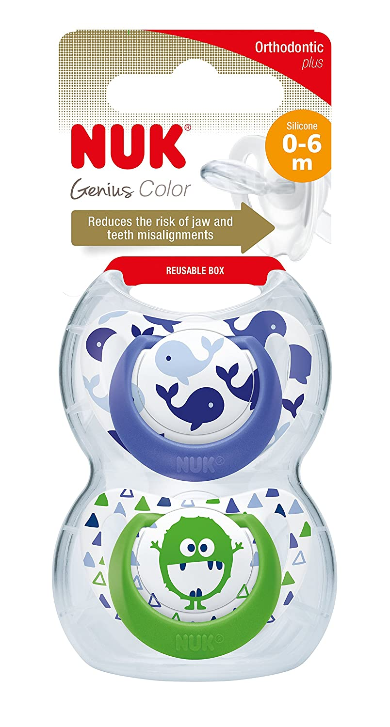 NUK Genius Silicone Soothers 2PK 6-18 m Pink with Night and Day Silicone Soothers 6-18 Month Pink