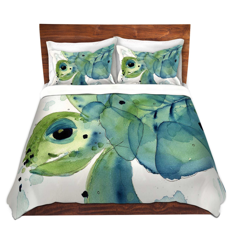 DiaNoche Designs Dawn Derman-Sea Turtle Brushed Twill Unique Home Decor Bedding Cover, 8 King Duvet Sham Set