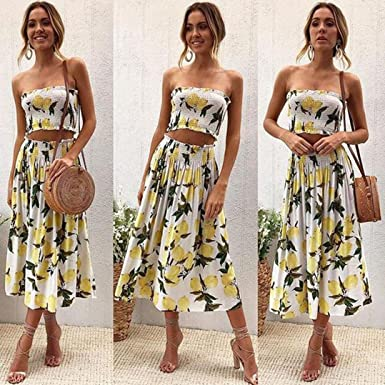 QinMM Falda + Tops de Playa Floral Blusa para Mujer, Camiseta ...