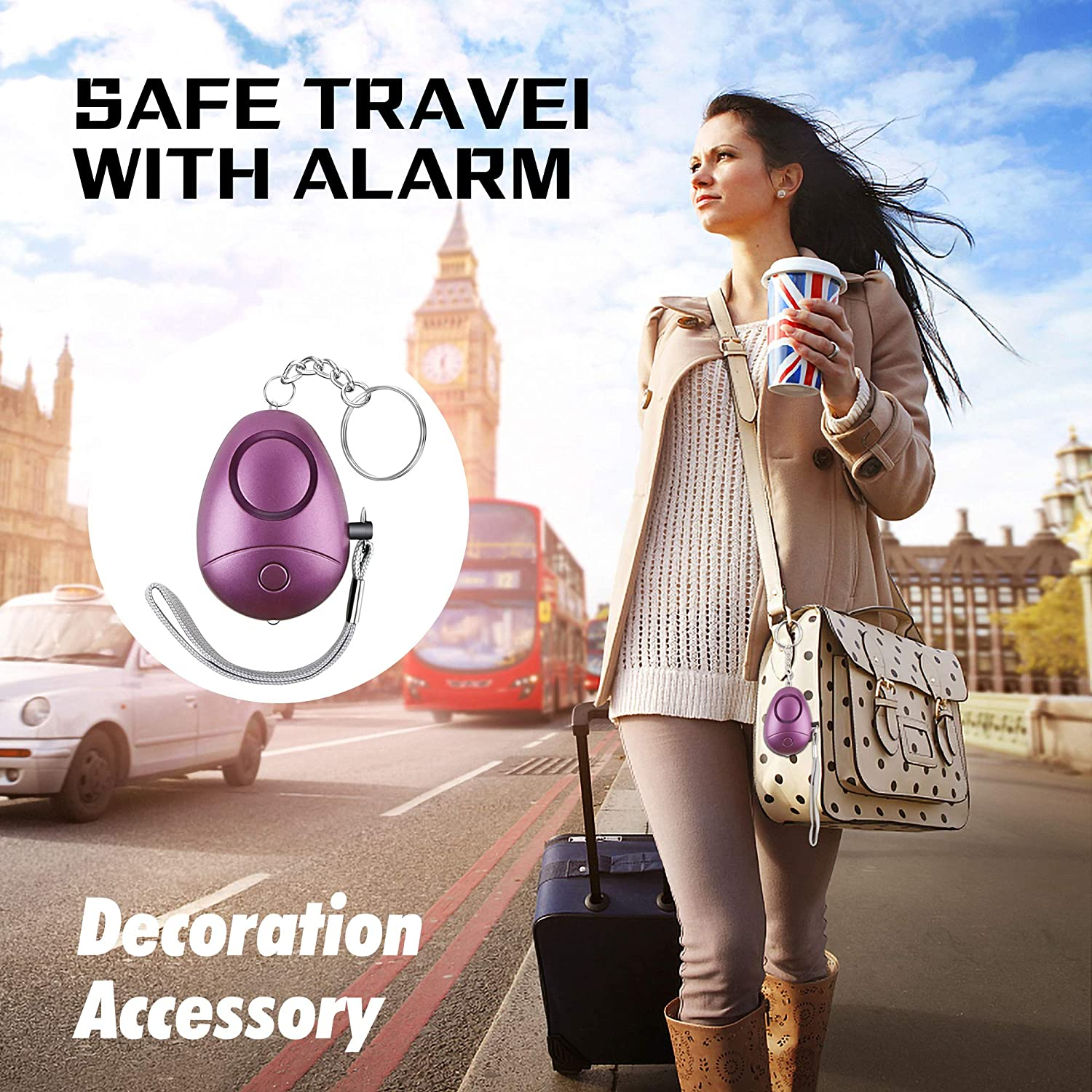 Safe Sound Security Personal Alarm for Women,Kids Personal Alarm Elderly Emergency Safe Personal Alarm with LED Flashlight Keychain,Personal Alarms-safey and Self Defense Alarm 130DB Siren Song