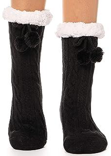 766cee32560 Womens Fuzzy Slipper Socks Warm Thick Knit Heavy Fleece lined Fluffy  Christmas Stockings Winter Socks