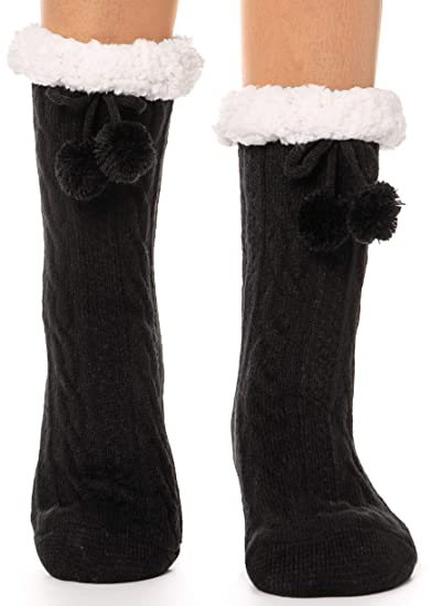 821366f1fe0 Womens Fuzzy Slipper Socks Warm Thick Knit Heavy Fleece lined Fluffy  Christmas Stockings Winter Socks (