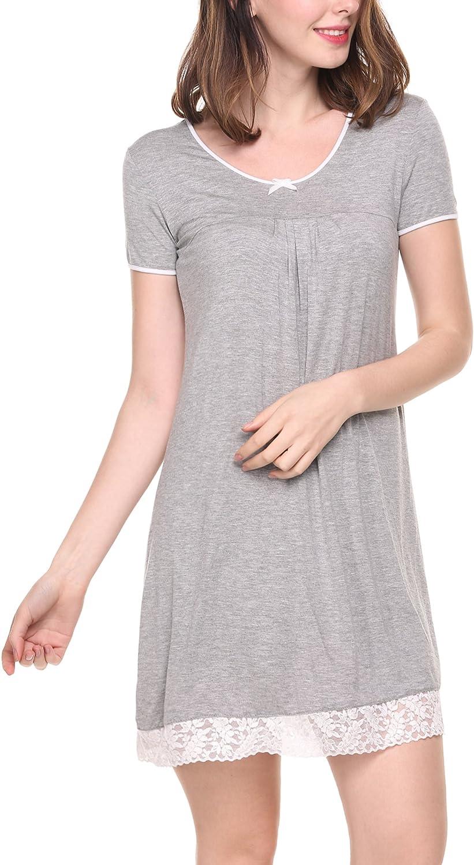 Camicia da Notte da Donna a Maniche Corte con Inserti in Pizzo UNibelle