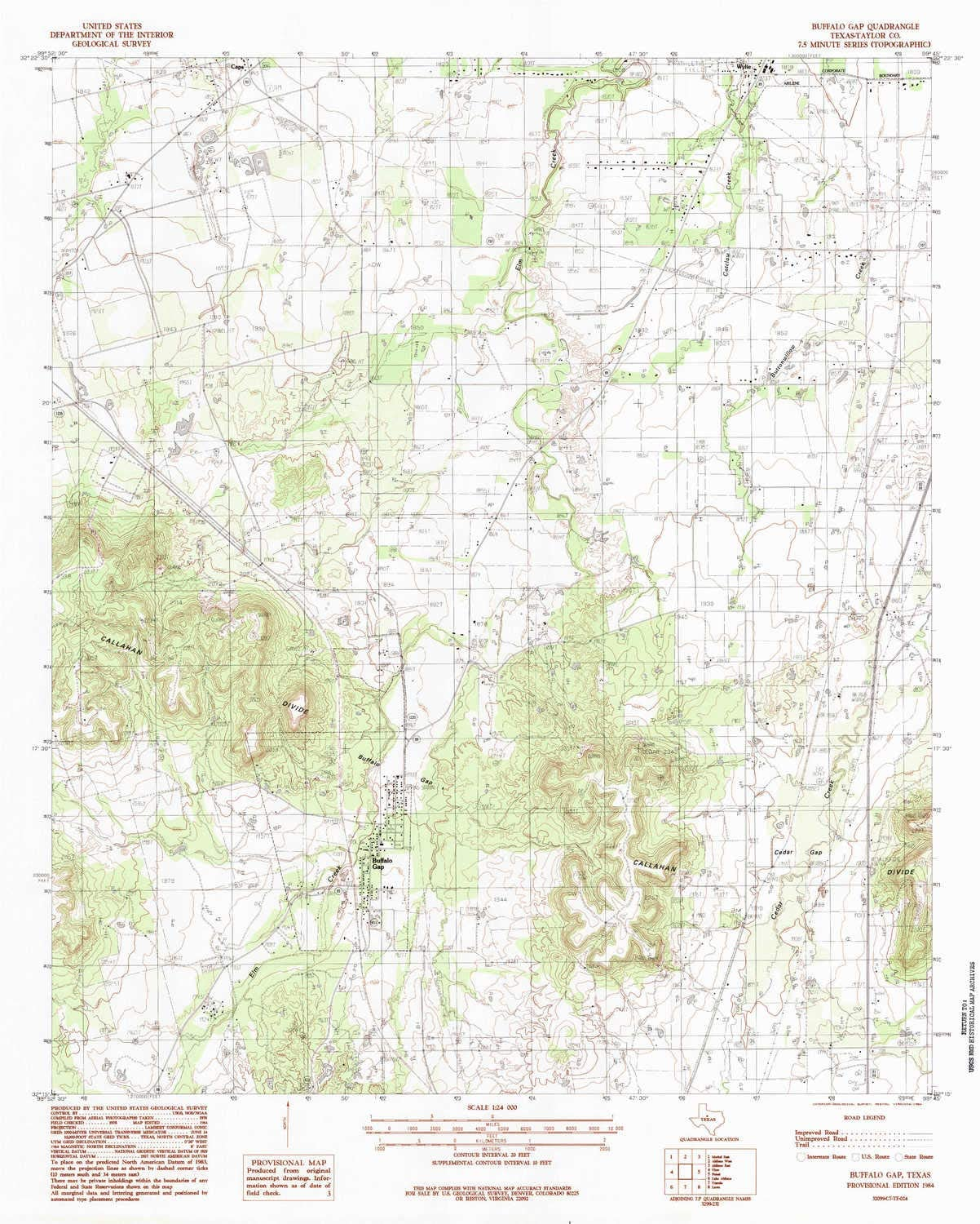 YellowMaps Buffalo Gap TX topo map 7.5 X 7.5 Minute 1:24000 Scale 26.9 x 23 in Historical Updated 1984 1984