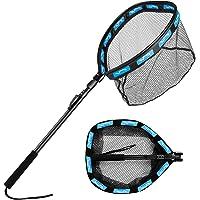 Floating Fishing Net Folding Landing Net with Telescopic Pole, Rubber Coated Mesh Net, Freshwater& Saltwater Easy Catch…