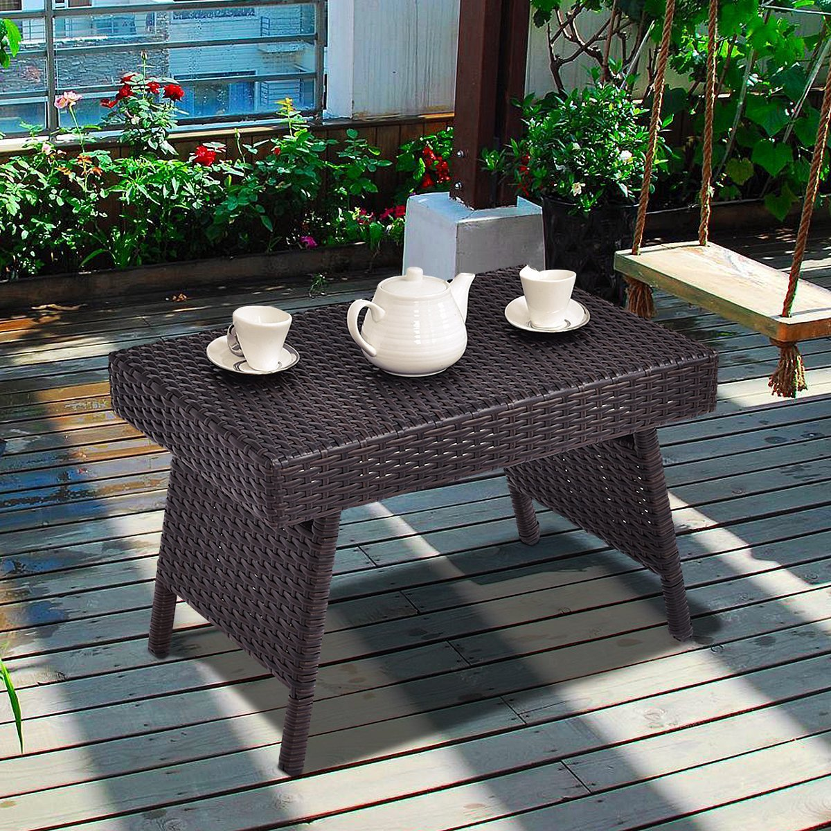 Brown Folding Rattan Side Coffee Table Patio Square Garden