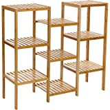Songmics Bamboo Customizable Utility Shelf Bathroom Rack Plant Display Stand 9-Tier Storage Rack Shelving Unit UBCB93Y