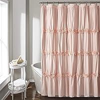 """Lush Decor Darla Ruched Floral Bathroom Shower Curtain, x 72"""", Blush"""
