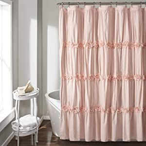 Lush Decor, Blush Darla Ruched Floral Bathroom Shower Curtain, x 72