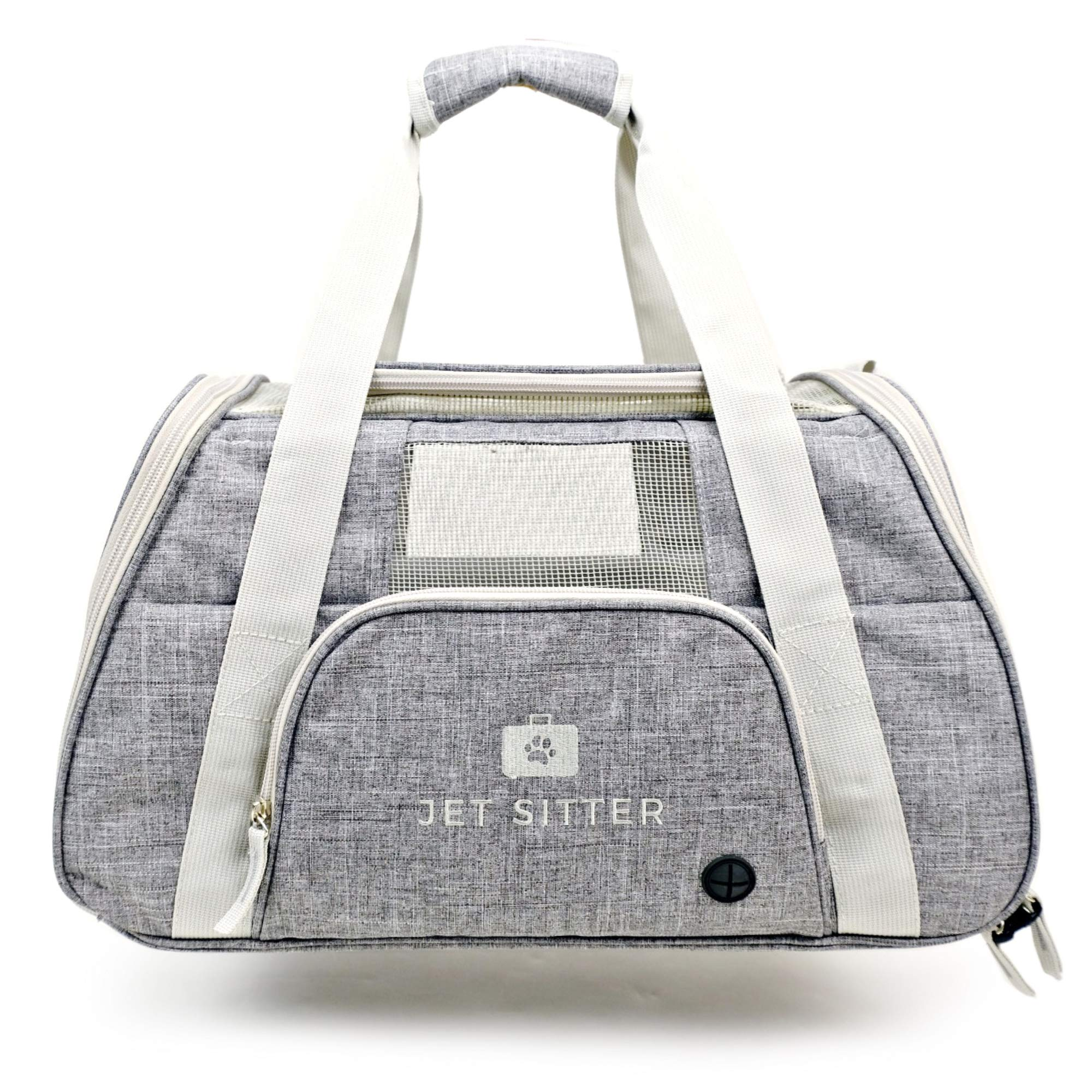 Jet Sitter Super Fly V4 Airline Approved Soft Sided Pet Carrier Bag for Small Dogs Cats (Fancy Grey)