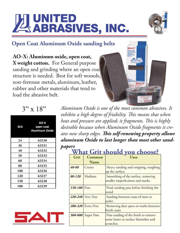 SAIT 63230 Open Coat Aluminum Oxide 3-Inch x 18-Inch AO-X 24 Grit Sanding Belt 10-Pack United Abrasives