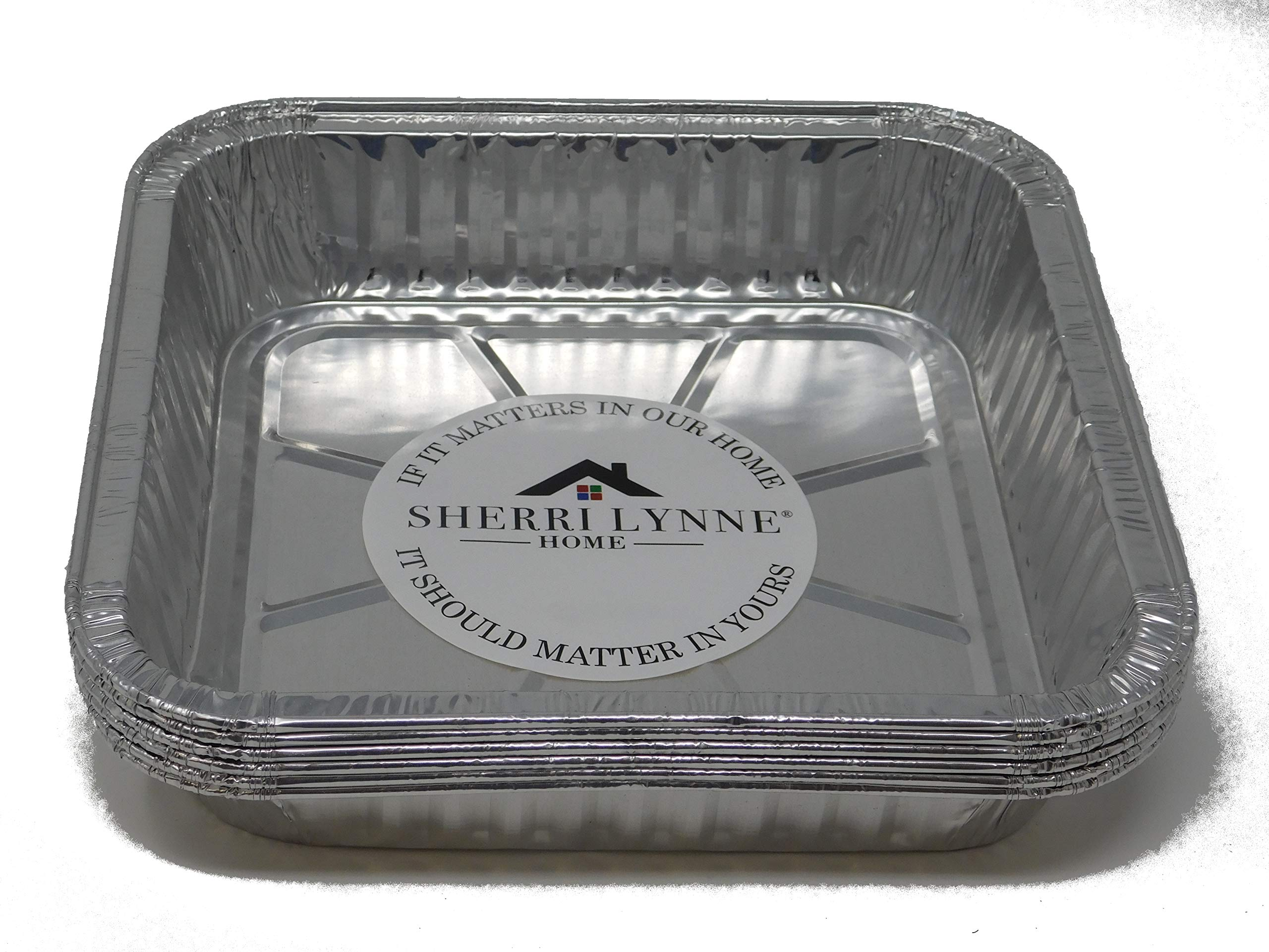 Sherri Lynne Home Deep 8'' x 8'' X 2 '' Baking Pans - Disposable Aluminum Foil Baking Tins, Ideal for Brownie,