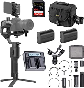 DJI Ronin-SC Handheld 3-Axis Gimbal Stabilizer for Canon EOS R Mirrorless Camera, Pro Battery Bundle with Camera Bag + 64GB SD Card + 2 Green Extreme LP-E6N Battery + Dual Smart Charger