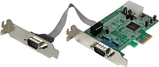 StarTech PEX2S553LP Tarjeta Adaptadora PCI Express PCIe de 2 Puertos Serie de Perfil Bajo RS232 UART 16550 Serial, 2x DB9 Macho, Low Profile