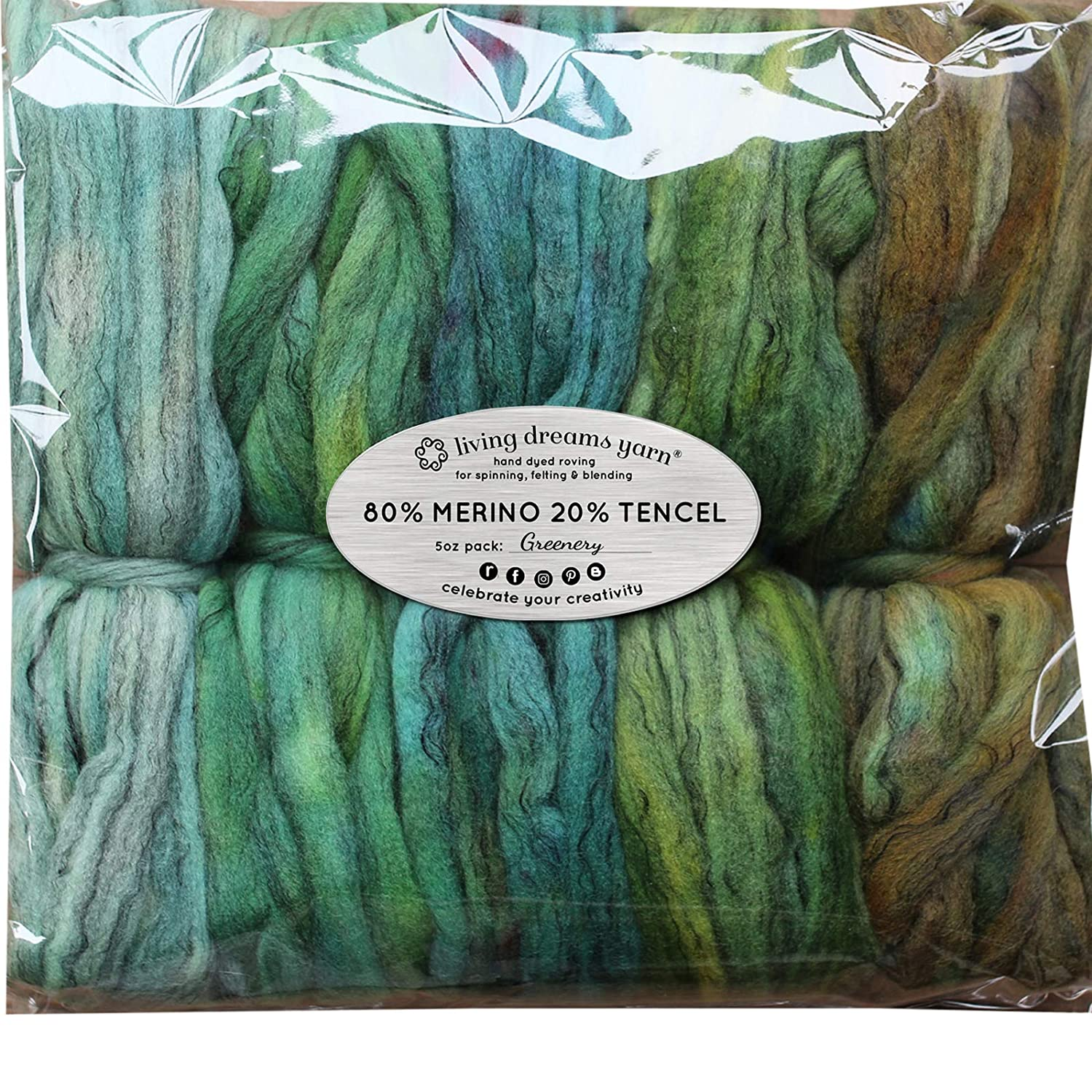 Spinning Fiber Super Soft BFL Wool Top Roving drafted for Hand Spinning with Drop Spindle or Wheel, Felting, Blending and Weaving. Variegated Hand Dyed Mini skeins. 5 Ounce Discount Pack, Greenery Living Dreams Yarn BFLGreenery5oz