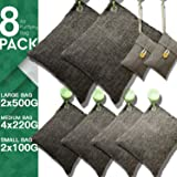DTXDTech Bamboo Charcoal Bags 8 Pack (2X500 G) (4X220 G) (2X100 G) Activated Bamboo Charcoal Natural for Home, Car,Closet,Shoes