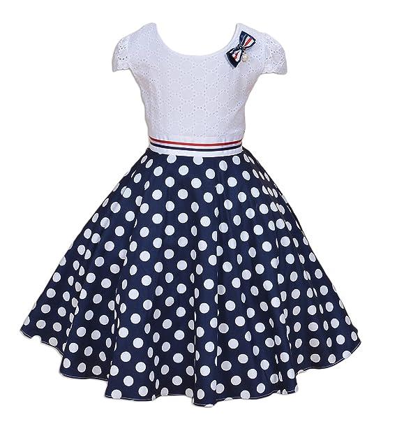 Cinda Vestido de fiesta de puntos azul y blanca chicas Blanco y azul 9-10