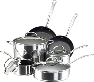 Farberware 75655 Millennium Cookware Pots and Pans Set, 10 Piece, Stainless Steel Nonstick