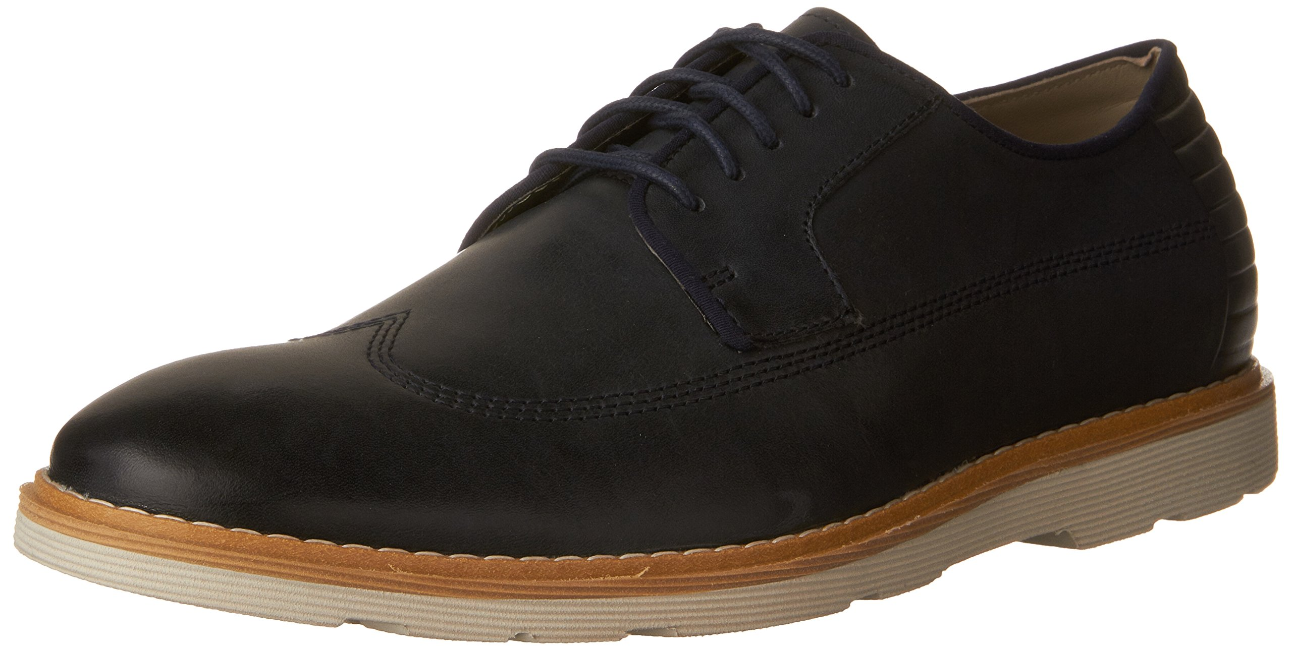 CLARKS Men's Gambeson Style Wing Tip Oxford,Navy Leather,US 7.5 M