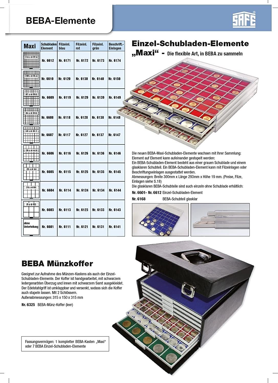 Safe 6159 Beba M/ünzkasten mit 10 Schubern 6107 Platz f/ür 490 M/ünzen bis 38,7 mm Gedenkm/ünzen in M/ünzkapseln 32,5 mm Ideal f/ür Deutsche 10-20 Eurom/ünzen