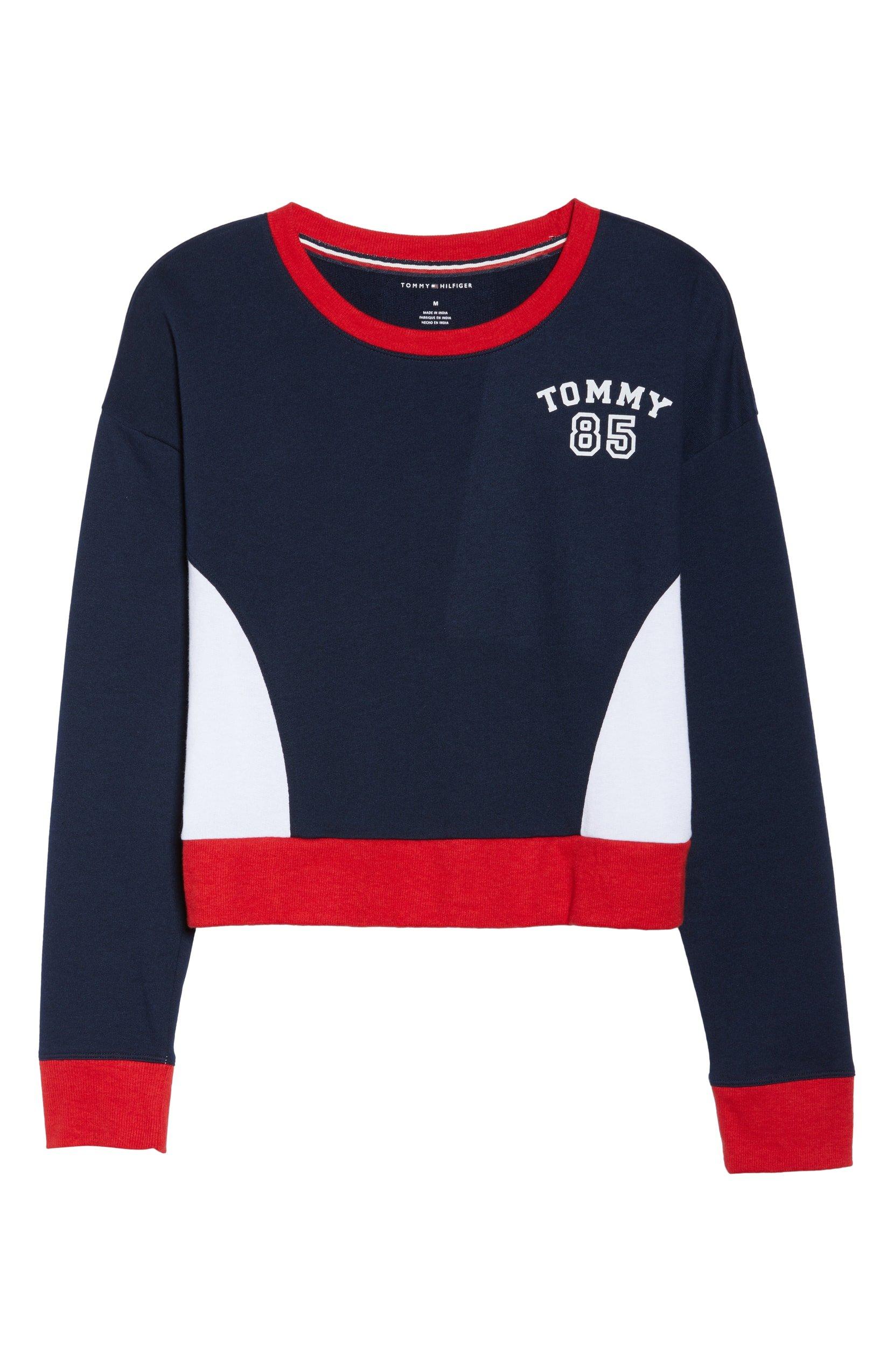 Tommy Hilfiger Women's Pullover Cropped Lounge Sweatshirt (Navy Blazer, Small)