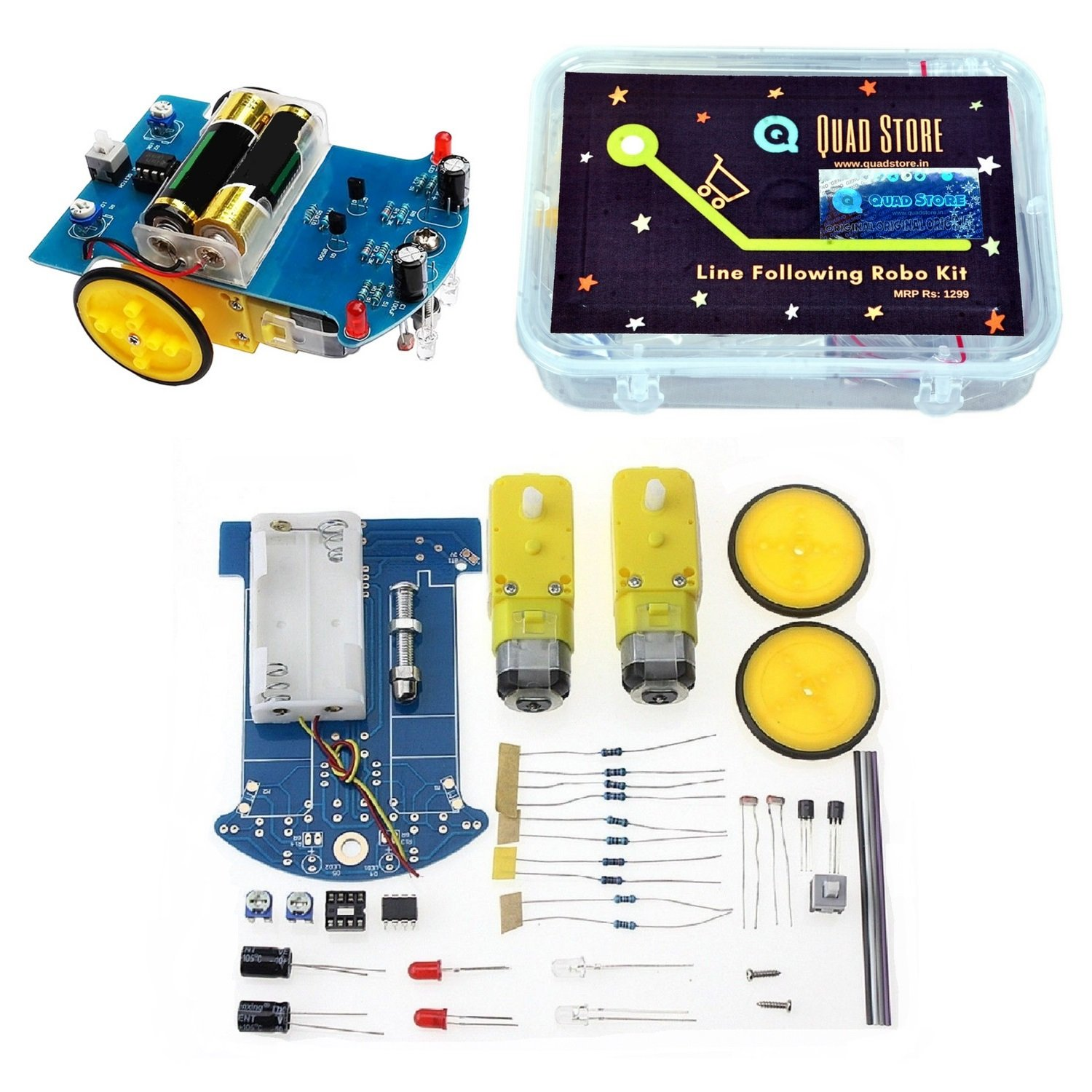 Quad Storetm Line Follower Tracking Robot Car Kit 2 Transistor Industrial Scientific