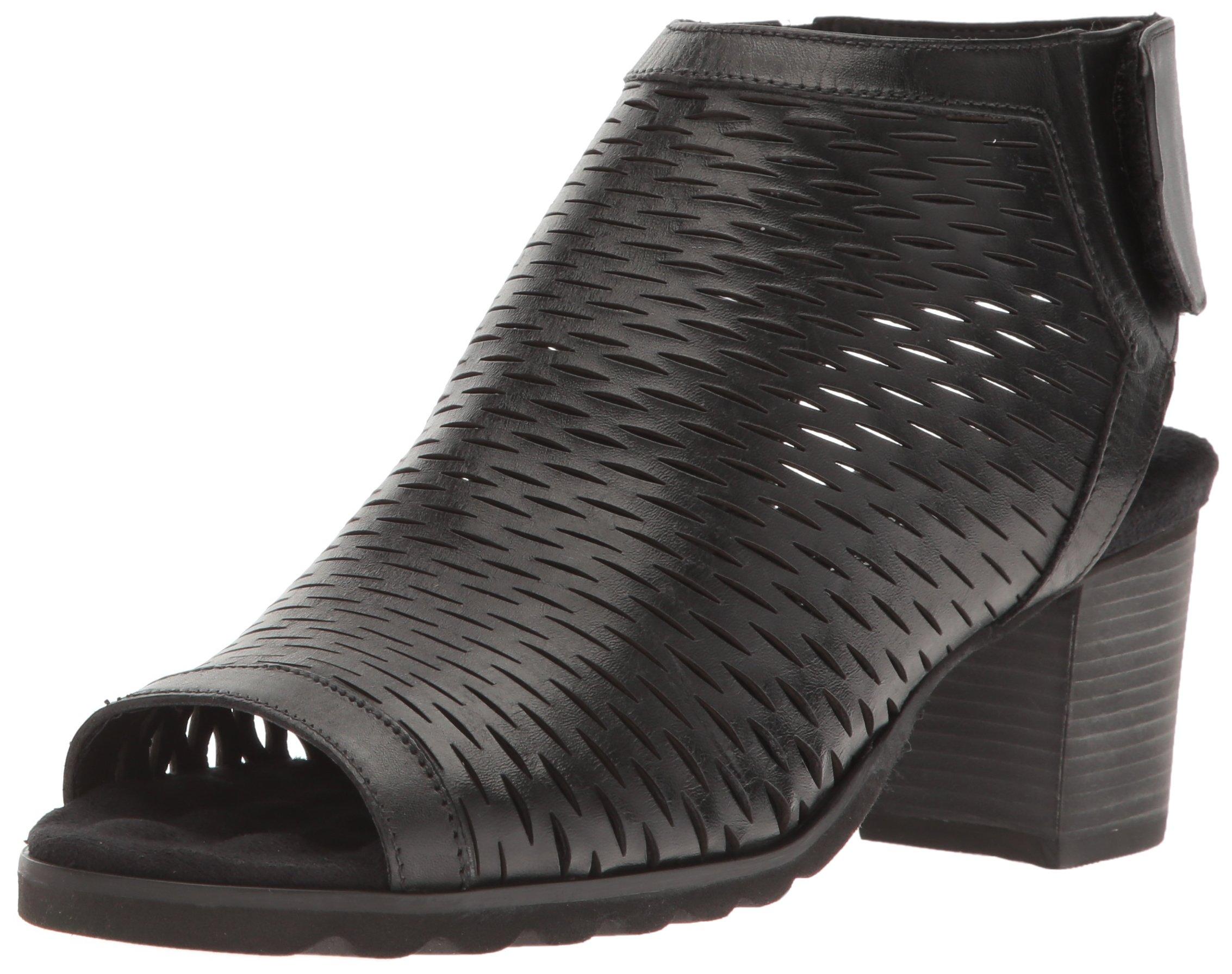 Walking Cradles Women's Nikki Dress Sandal, Black Accordion Perfed Soft Leather, 8 2W US