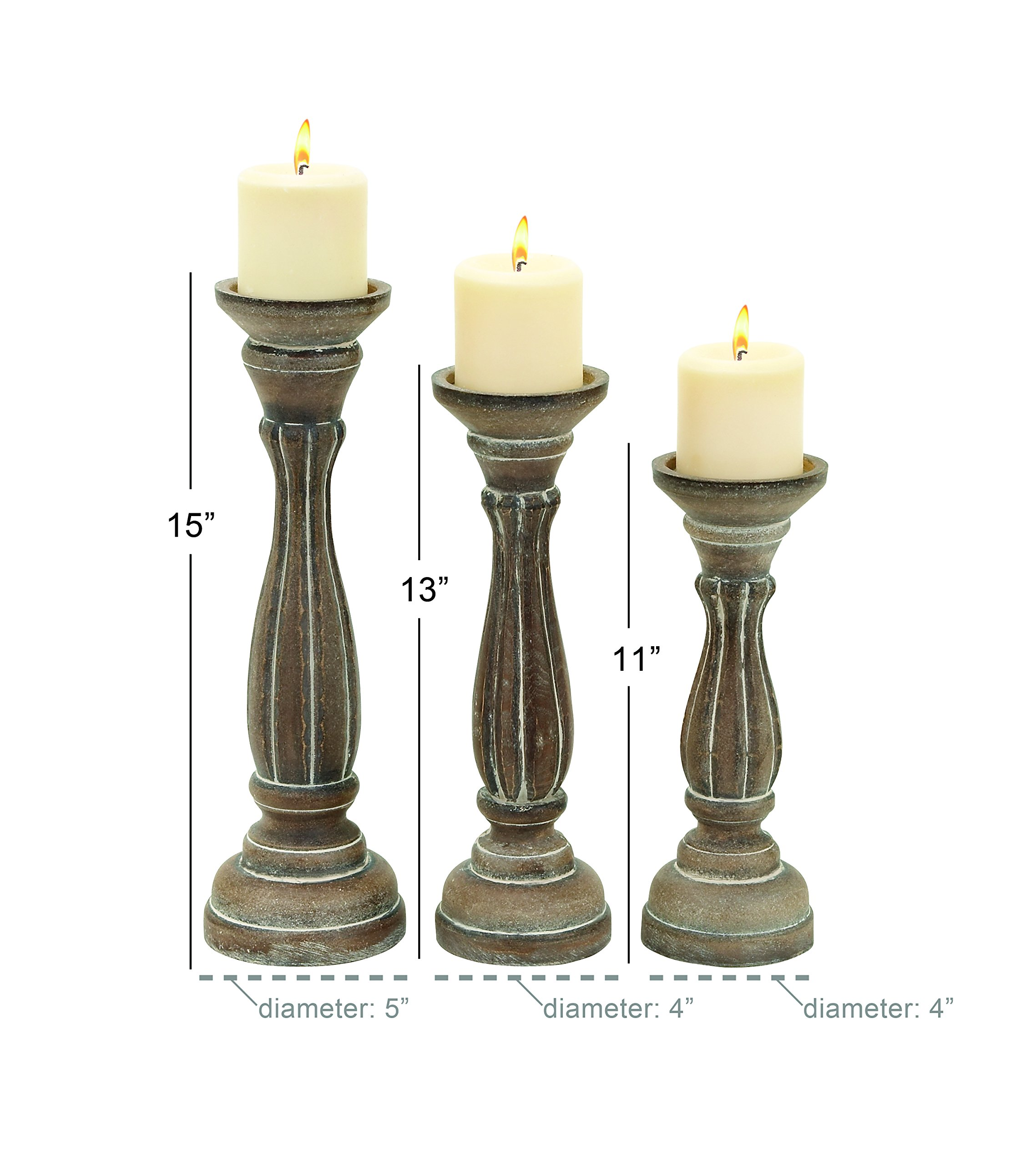 Deco 79 Wood Candle Holder, Brown, 15 by 13 by 11-Inch