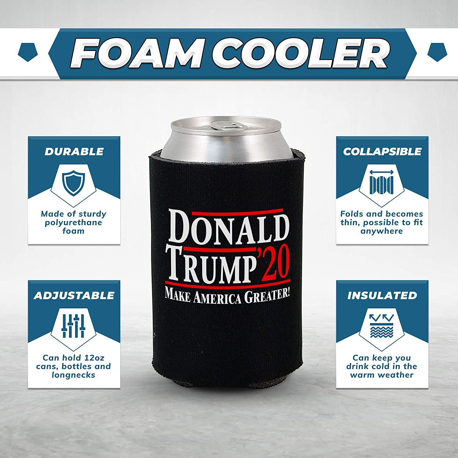2 Donald TRUMP Fan Beer Can Cooler Coozie Koozie USA Flag MAGA Gift QTY 2