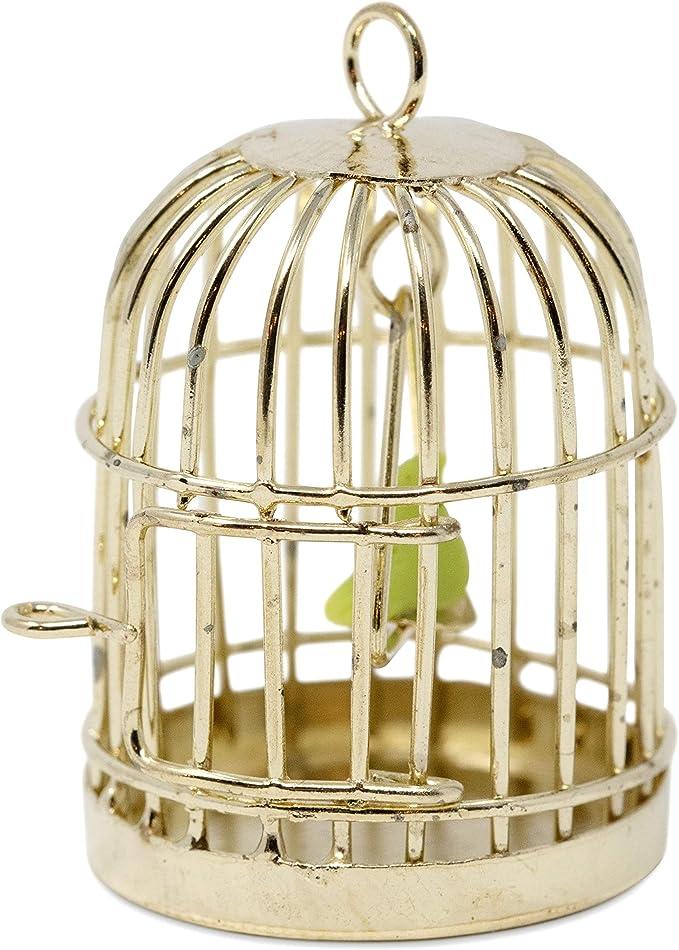 Metal Bird Gold Cage w White Bird For 112 Dollhouse Miniature Set Kids Q3T2