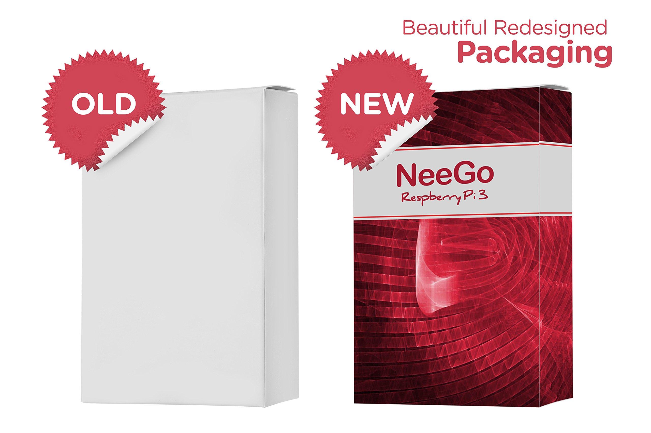 NeeGo Raspberry Pi 3 Starter Kit – Pi 3 Model B Barebones Computer Motherboard with 64bit Quad Core CPU & 1GB RAM, 2.5A Power Supply & Heatsink 2-Pack by NeeGo (Image #5)