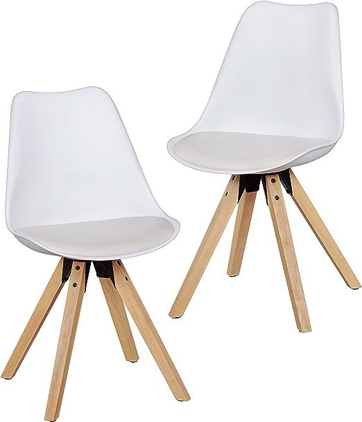 Wohnling 2er Set Retro Esszimmer Stuhl LIMA ohne Armlehne, Sitzfläche Kunstleder Küchenstuhl mit Lehne aus Kunststoff und 4 Holz Beinen,