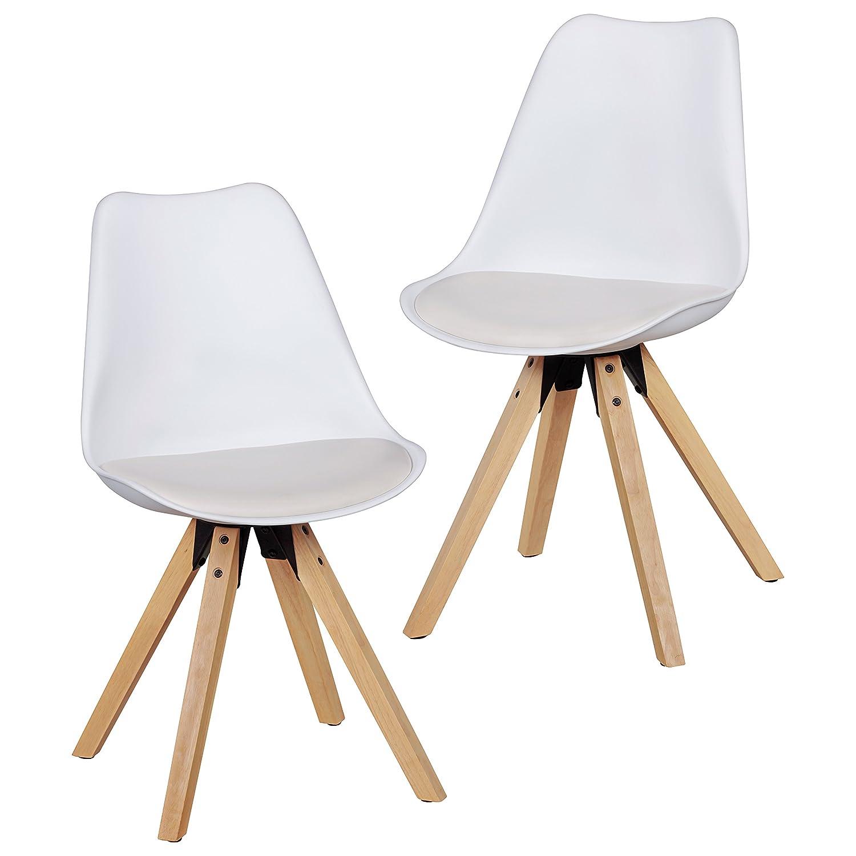 Wohnling 2er Set Retro Esszimmer-Stuhl LIMA ohne Armlehne, Sitzfläche Kunstleder Küchenstuhl mit Lehne aus Kunststoff und 4 Holz Beinen, Skandinavisches Design Essstuhl- gepolstert weiß