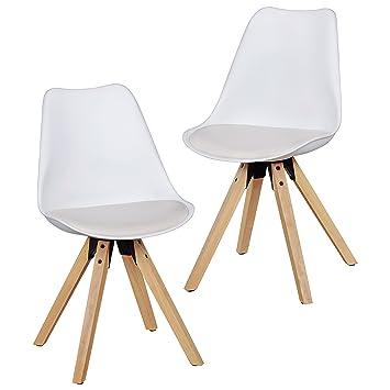 Wohnling 2er Set Retro Esszimmer Stuhl Lima Ohne Armlehne, Sitzfläche  Kunstleder Küchenstuhl Mit Lehne