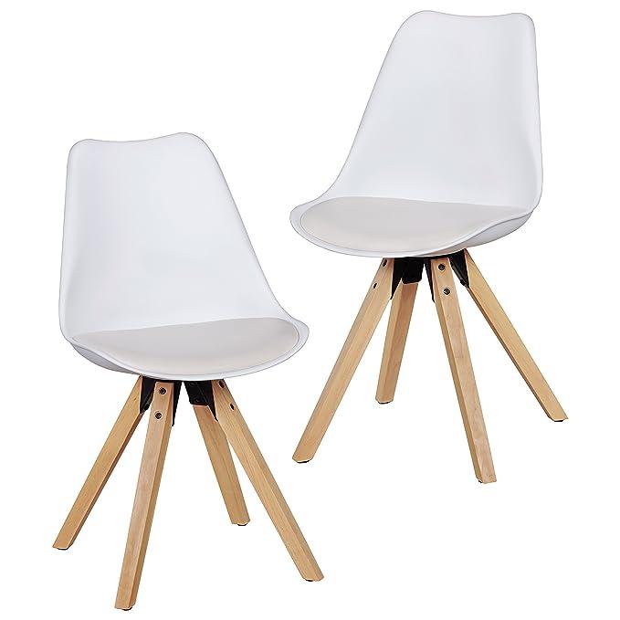 Wohnling 2er Set Retro Esszimmer-Stuhl Lima Ohne Armlehne, Sitzfläche Kunstleder Küchenstuhl mit Lehne aus Kunststoff und 4 Holz Beinen, ...