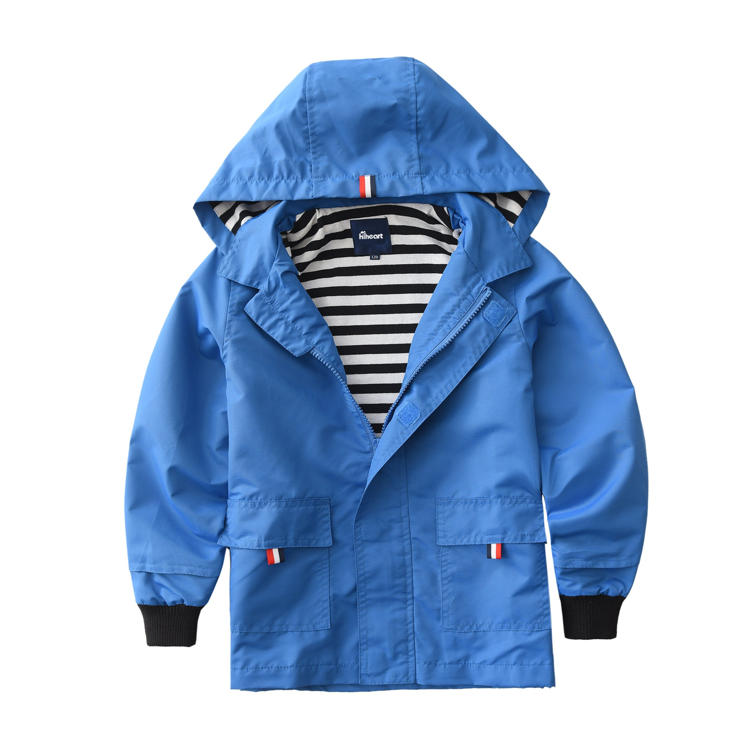 Hiheart Boys Waterproof Hooded Jackets Cotton Lined Rain Jackets Blue 4/5