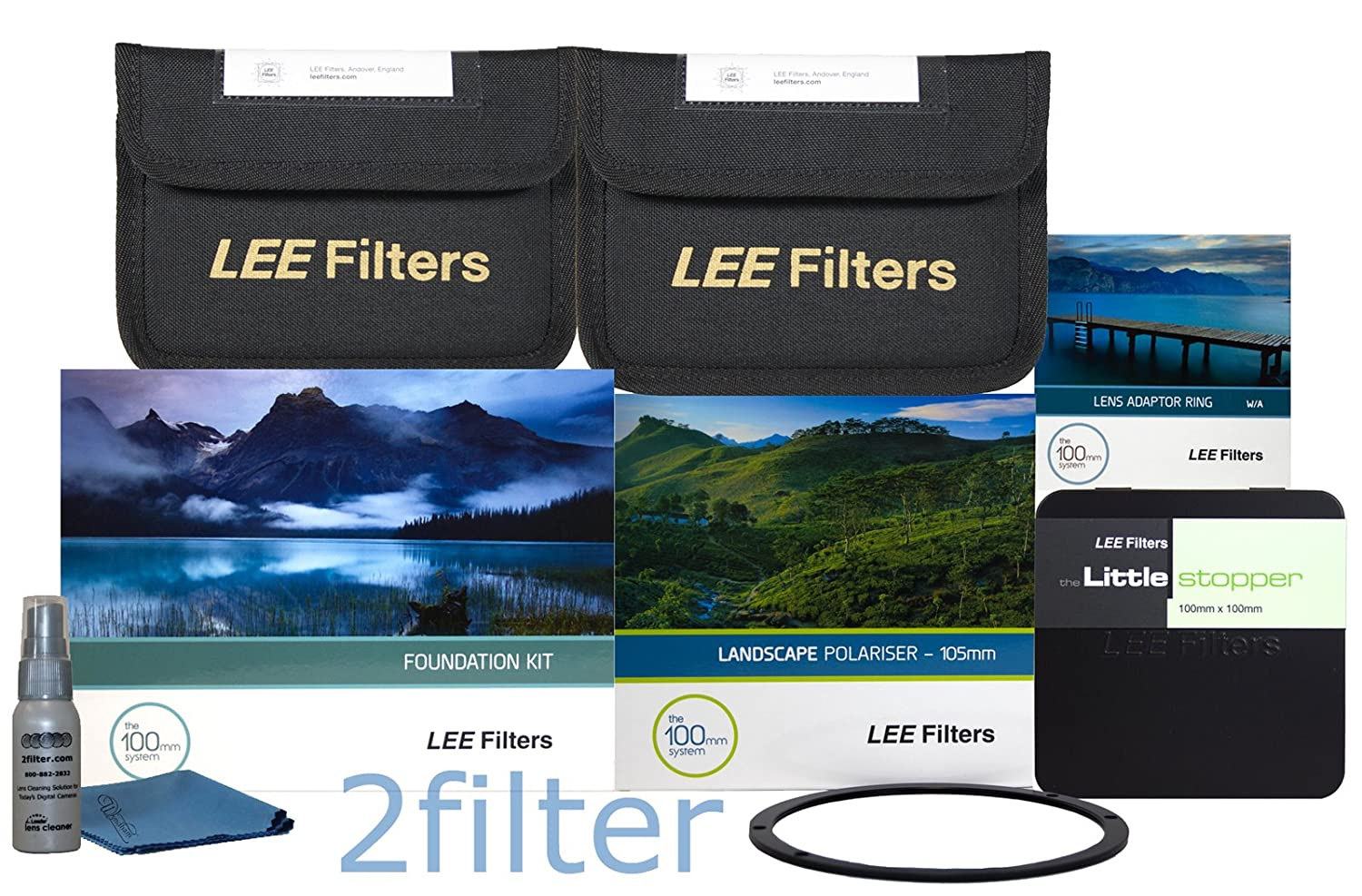 Leeフィルター82 mm Special Edition Landscape Essentials Kit 2 – Fkホルダー、82 mmリング、4 x 6 GRAD ND 0.6 & 0.9 SE、100 mm Littleストッパー、Lee 105 mmスリムLandscape CPL &フロントリング、with 2フィルタクリーニングキット   B00O4FMN02