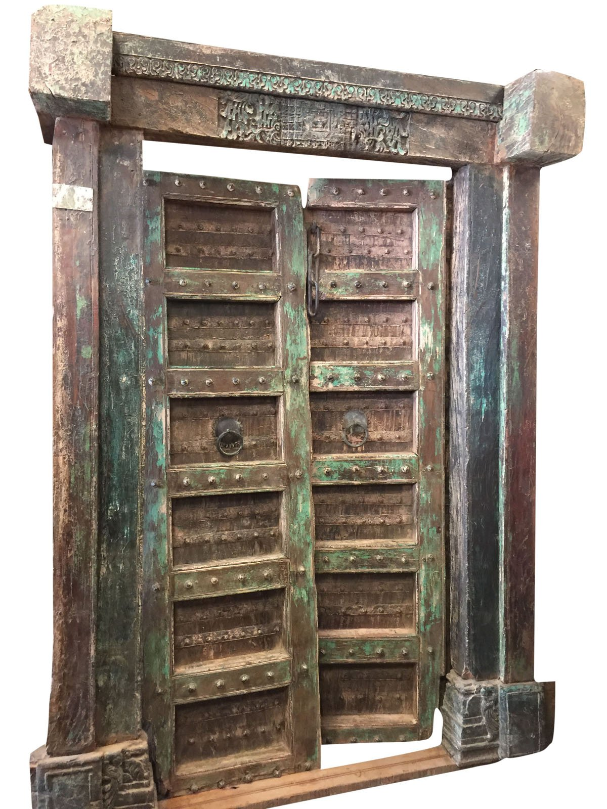 Antique Doors Brass Floral Patina Double Door Spanish Tuscan Interiors Architecture 18C by Mogul Interior