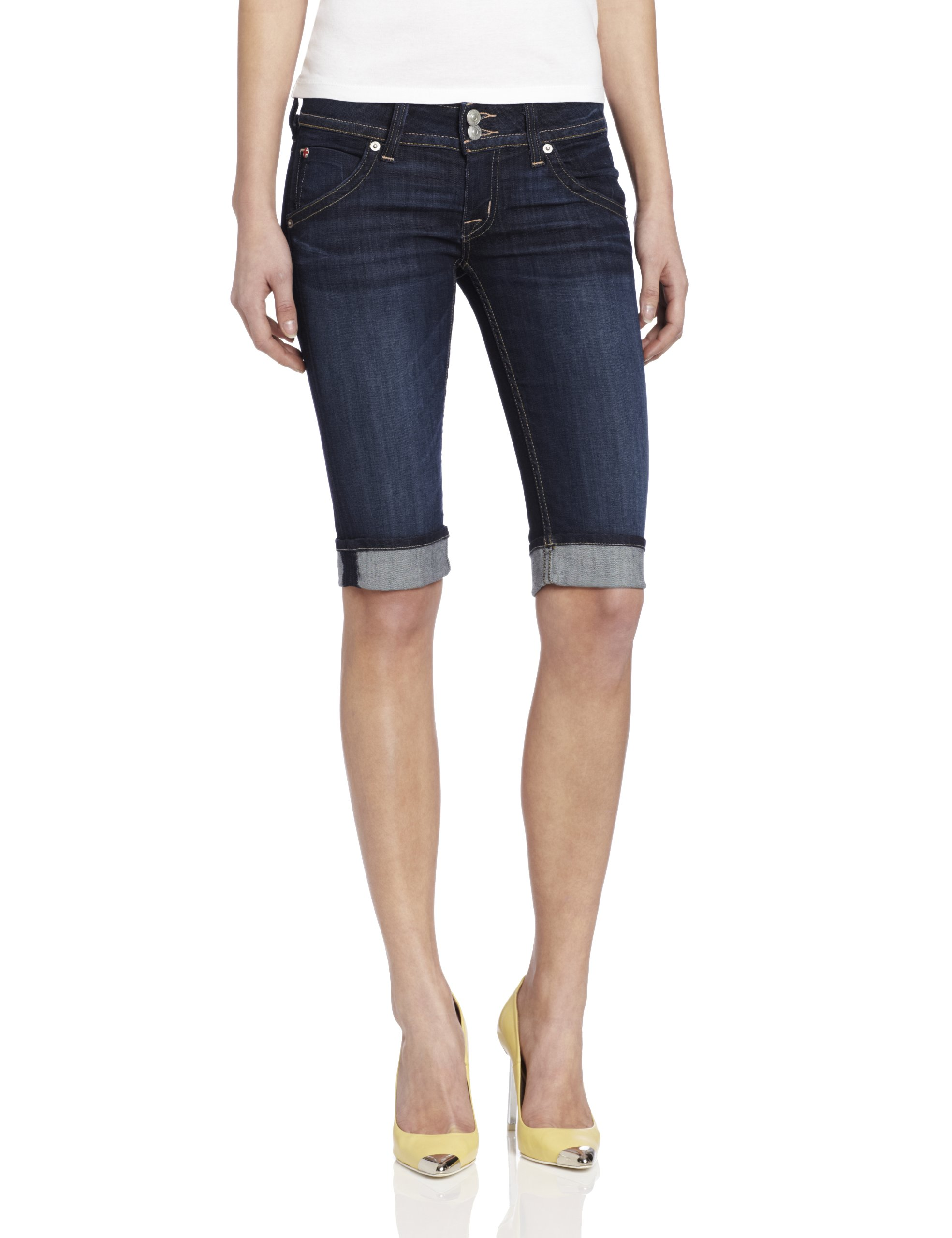 Hudson Jeans Women's Palerme Knee Denim Short, Stella, 24